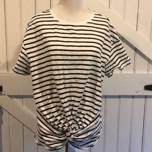 A New Day Plus Black/White Striped Twist Tee Sz 0X